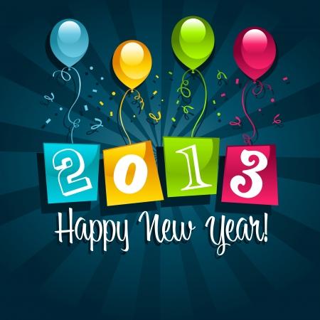 Vector kleurrijke 2013 nieuwe jaar kaart met kleurrijke partij ballonnen Stockfoto - 16338535