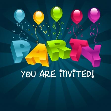 Vector colorato invito tessera di partito con palloncini di compleanno Archivio Fotografico - 16338138
