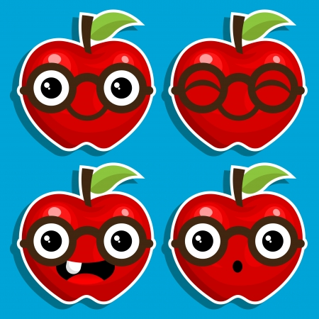 Vector cartoon characters of red apples with eyeglasses Stock Vector - 16338197