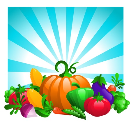 Glossy Vegetables on Bursting Background Stock Vector - 16338214