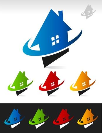 Icônes vectorielles maison avec swoosh éléments graphiques Banque d'images - 16338531