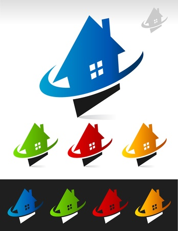 Vector house icons with swoosh graphic elements