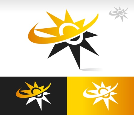 sun energy: Vector sun icon with swoosh graphic element  Illustration