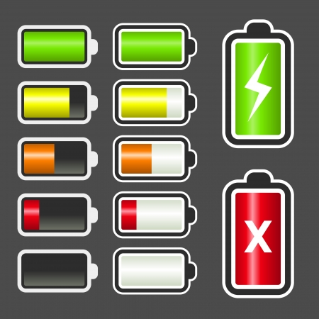 set of battery level indicator icons