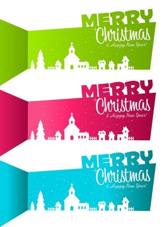 set van kleurrijke banners met Kerstmis silhouet dorp Stock Illustratie