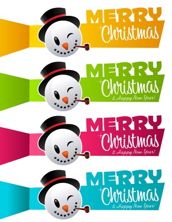 set of colorful Christmas banners with snowman heads  Stock Vector - 16456538