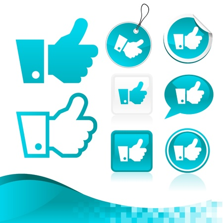 design kit of blue hand icons with banner  Vector