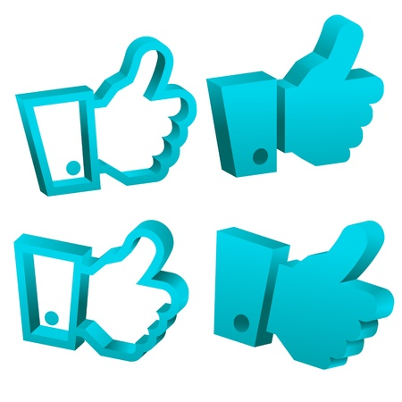 set of blue 3d hand icons Stock Vector - 16456573