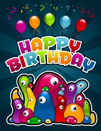 event party festive:  birthday invitation greeting card with colorful monsters and party balloons