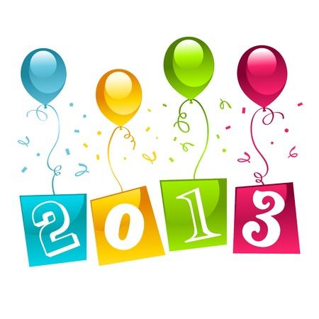 Nouvelles année 2013 cartes de v?ux avec des ballons colorés Banque d'images - 16456546