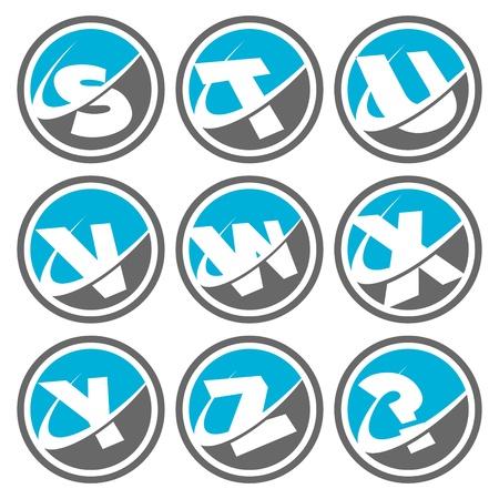 Swoosh Alphabet Icons Set 3 Vector