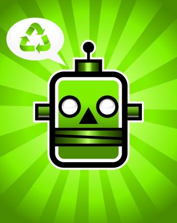 retro robot: Green Recycling Retro Robot