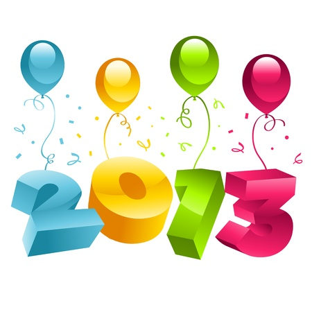 New Year 3D 2013 Greeting Card Vector
