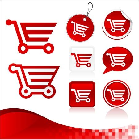 shopping cart icon: Red Shopping Cart Design Kit