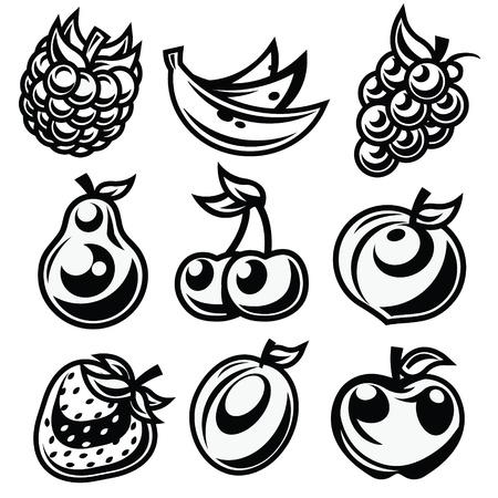 Vector set of black and white fruit icons isolated on white background  Ilustração