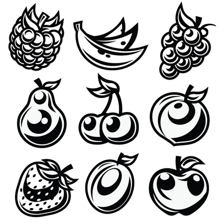 Vector set of black and white fruit icons isolated on white background Stock Vector - 17109730