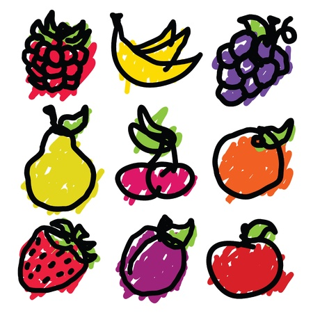 set of hand drawn fruit icons  Vector