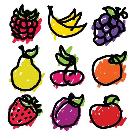 set van de hand getekende fruit iconen