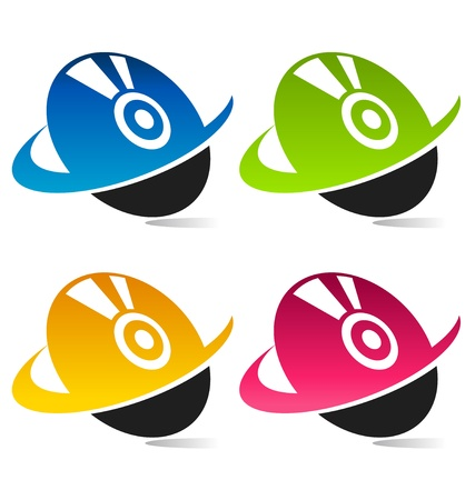 multimedia icons: Colorful Swoosh Disc Icons  Illustration