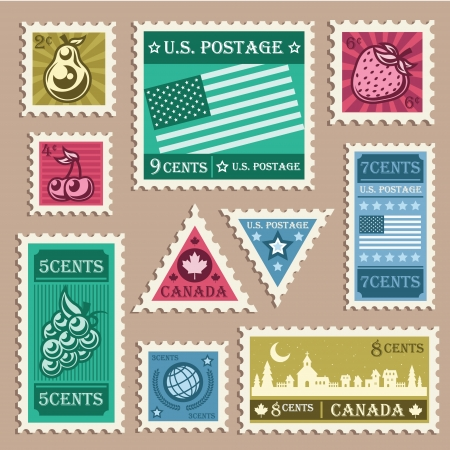 canada stamp: Vector set of various vintage stamp stickers