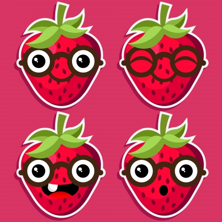 Smart strawberry with eyeglasses  Stock Vector - 17109746
