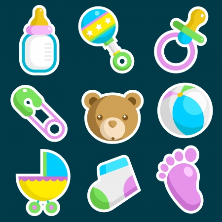 diaper pin: Vector set of colorful baby shower icons