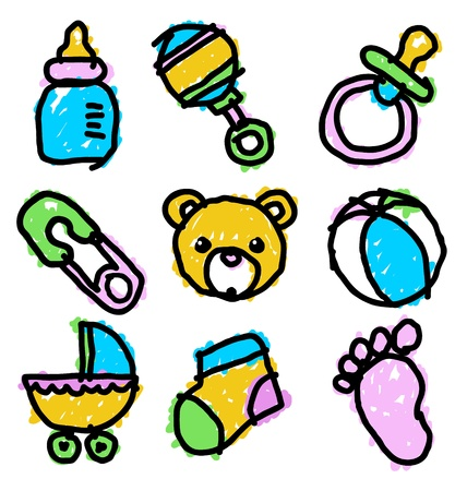 Vector set of colorful baby shower doodles  Çizim