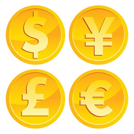 Vector set of shiny currency gold icons  Ilustracja