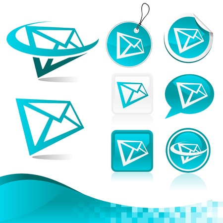 chat button: Vector kit of mail letter icons and banner