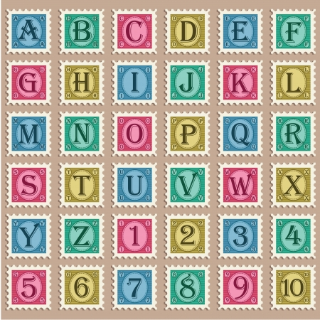 postage stamp: Vector set of alphabet and numbers with vintage stamps