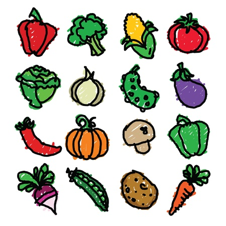 Vector set of fun colorful vegetable doodles  Ilustração