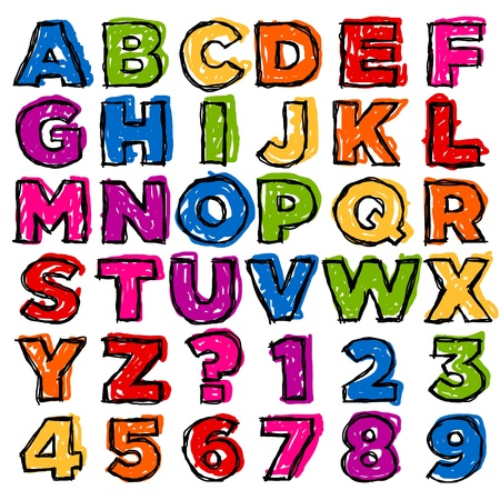 Vector set of colorful doodle alphabet and numbers Stock Vector - 17109758