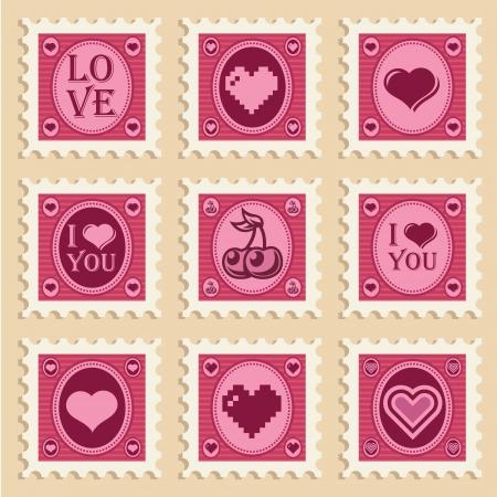 빈티지 발렌타인 하트 우표의 벡터 설정 일러스트