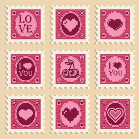 retro: Vector set of vintage valentine heart stamps