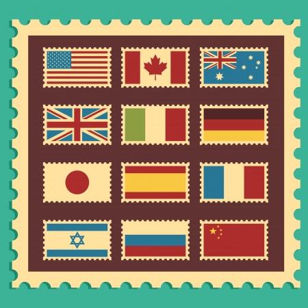 Vintage Postzegels waarmee wereld vlaggen
