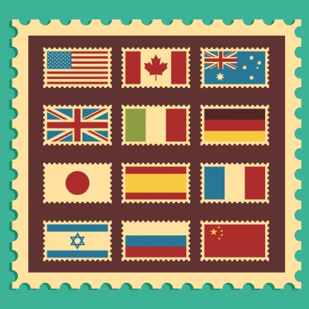 representing: Vintage Stamps representing world flags