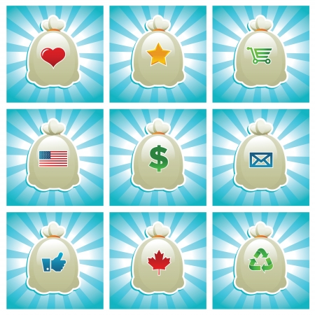 Vector set of bags with various icons   Stock Vector - 17109748