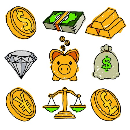 stack of cash: Vector conjunto de iconos doodle de oro y financieros Vectores