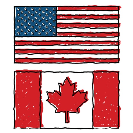 u s: Vector doodles of Canada and U S world flag