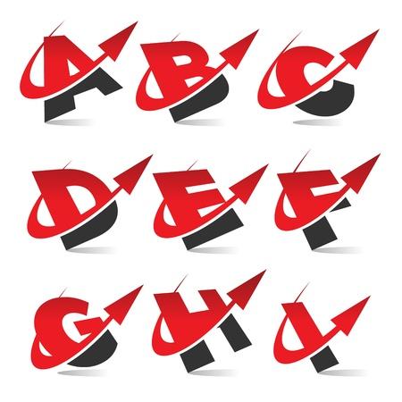 Swoosh Arrow Alfabet Pictogrammen Set 1