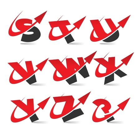 Swoosh Arrow Alphabet Icons Set 3 Vector