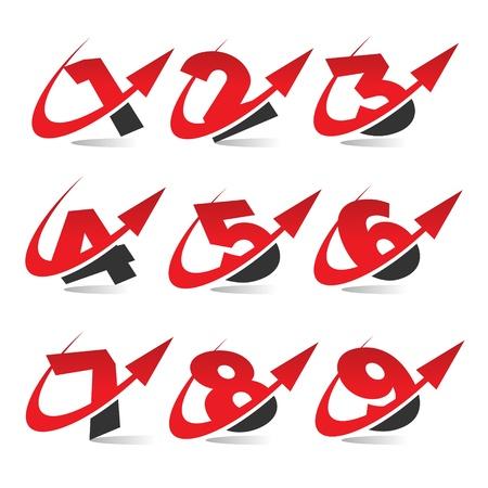 Swoosh Arrow Number Icons Stock Vector - 17109740