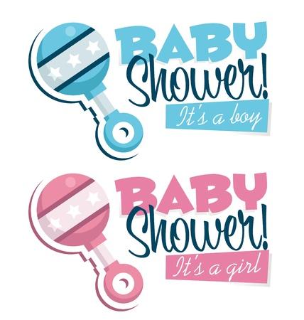 grzechotka: Zaproszenie baby shower z rattle ikony Ilustracja