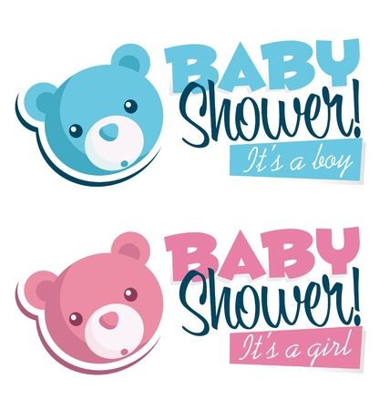 baby girl: Baby shower invitation with bear icon  Illustration