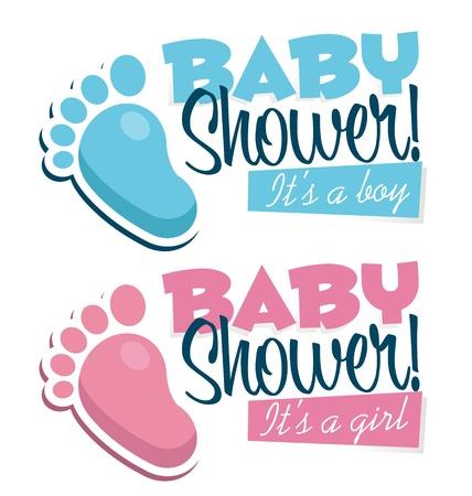 invitacion baby shower: Invitación de la ducha de bebé con los pies del bebé iconos