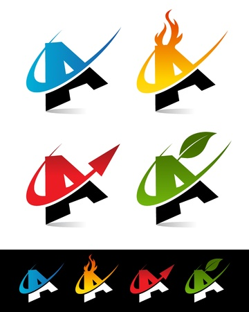 blue flame: Vector alphabet set of various swoosh A icons