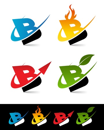 Vector set of colorful swoosh B icons