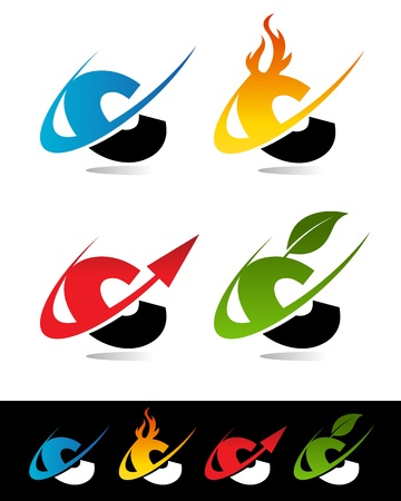 letter c: Vector set of colorful swoosh C icons
