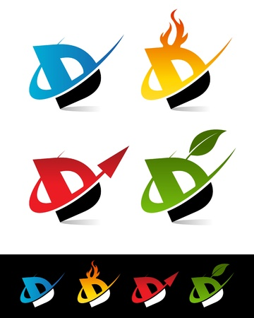 d: Vector set of colorful swoosh D icons