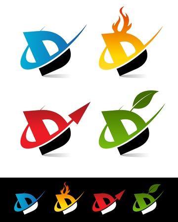 Vector set van kleurrijke swoosh D iconen